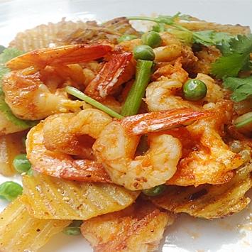 干烧虾土豆